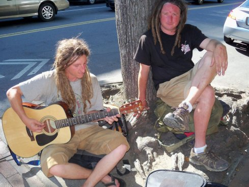 hippies on sidewalk