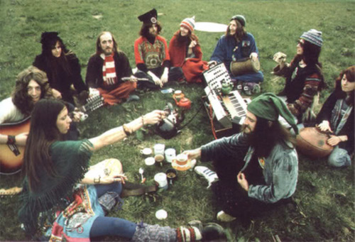 hippies smoke weed in a circle